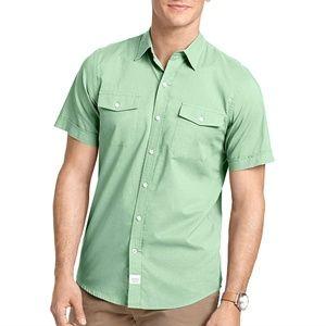 IZOD Green Solid Pocket Poplin Casual Polo Shirt